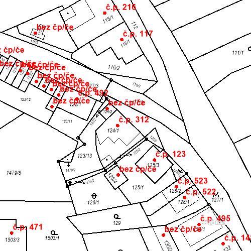 Katastrální mapa Stavební objekt Bošovice 312, Bošovice