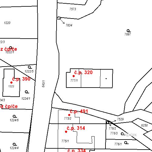 Katastrální mapa Stavební objekt Bošovice 320, Bošovice