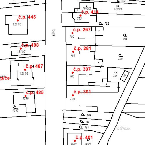 Katastrální mapa Stavební objekt Bošovice 307, Bošovice