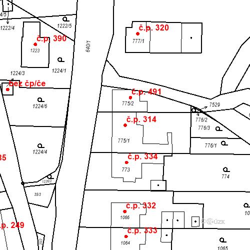 Katastrální mapa Stavební objekt Bošovice 314, Bošovice