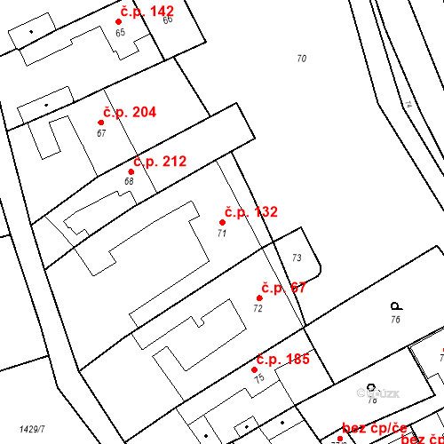 Katastrální mapa Stavební objekt Bošovice 132, Bošovice
