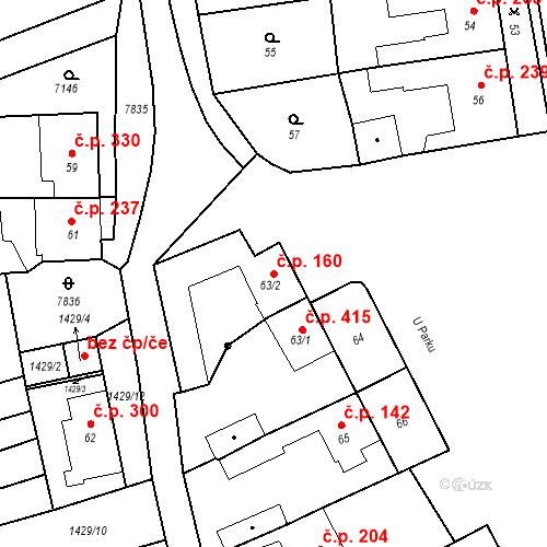 Katastrální mapa Stavební objekt Bošovice 160, Bošovice