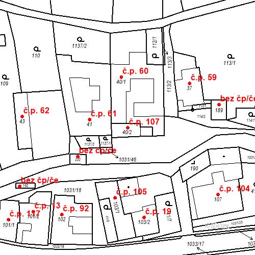Katastrální mapa Stavební objekt Kořenec 107, Kořenec