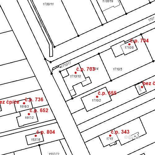 Katastrální mapa Stavební objekt Pozořice 703, Pozořice