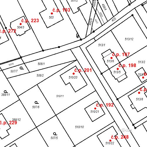 Katastrální mapa Stavební objekt Zbýšov 201, Zbýšov