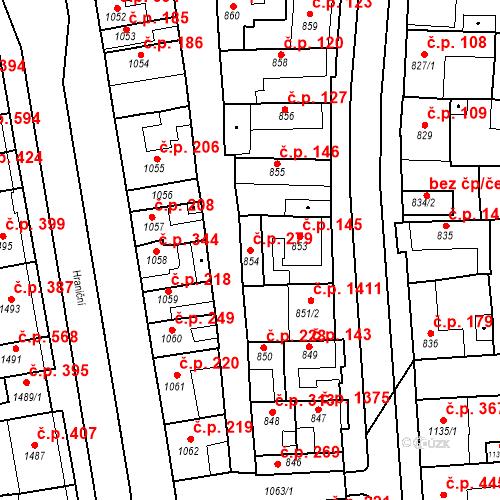 Katastrální mapa Stavební objekt Poštorná 279, Břeclav