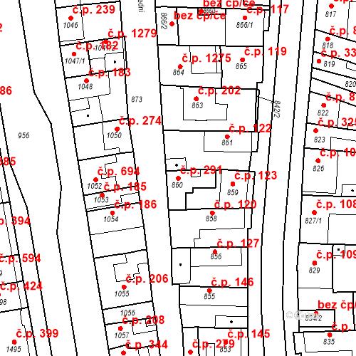 Katastrální mapa Stavební objekt Poštorná 291, Břeclav