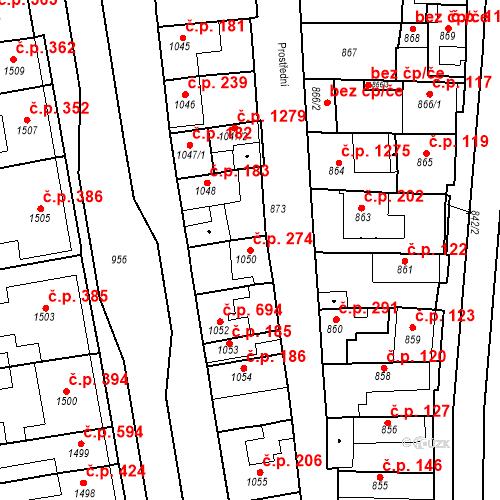 Katastrální mapa Stavební objekt Poštorná 274, Břeclav