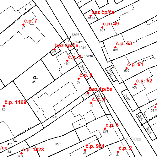 Katastrální mapa Stavební objekt Poštorná 5, Břeclav