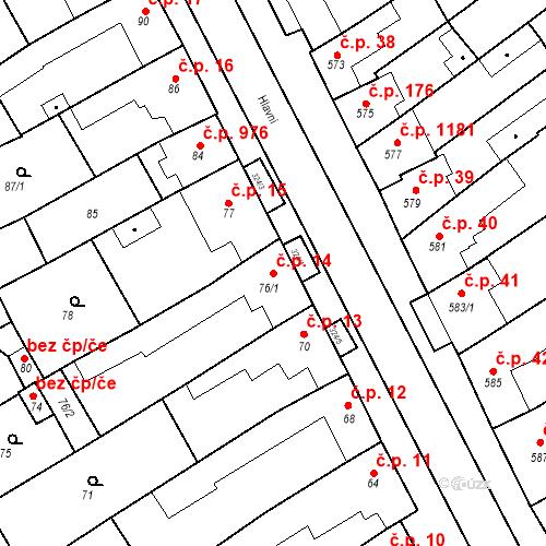 Katastrální mapa Stavební objekt Poštorná 14, Břeclav