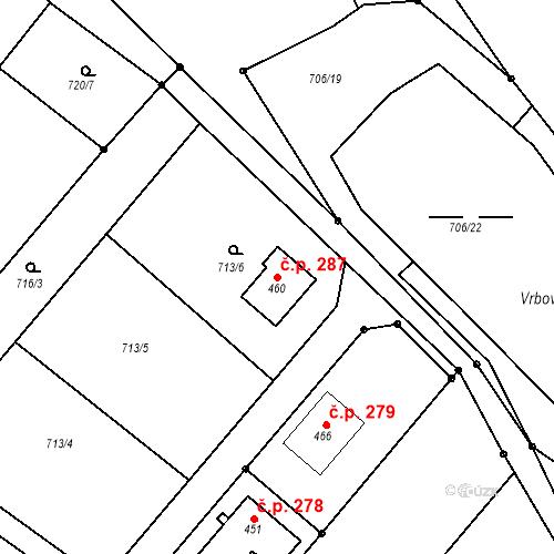 Katastrální mapa Stavební objekt Cetkovice 287, Cetkovice