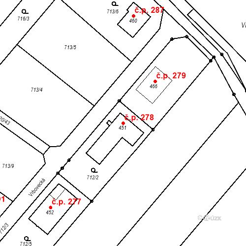 Katastrální mapa Stavební objekt Cetkovice 278, Cetkovice