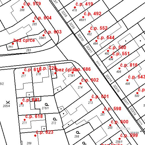 Katastrální mapa Stavební objekt Poštorná 686, Břeclav