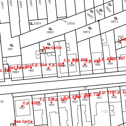 Katastrální mapa Stavební objekt Poštorná 501, Břeclav