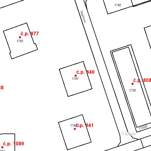 Katastrální mapa Stavební objekt Poštorná 840, Břeclav