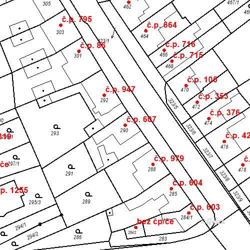 Katastrální mapa Stavební objekt Poštorná 607, Břeclav