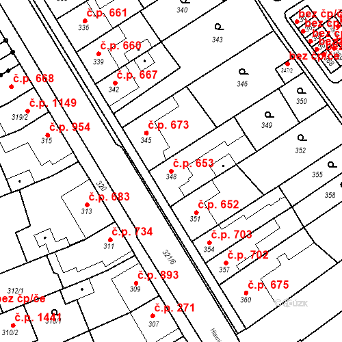Katastrální mapa Stavební objekt Poštorná 653, Břeclav