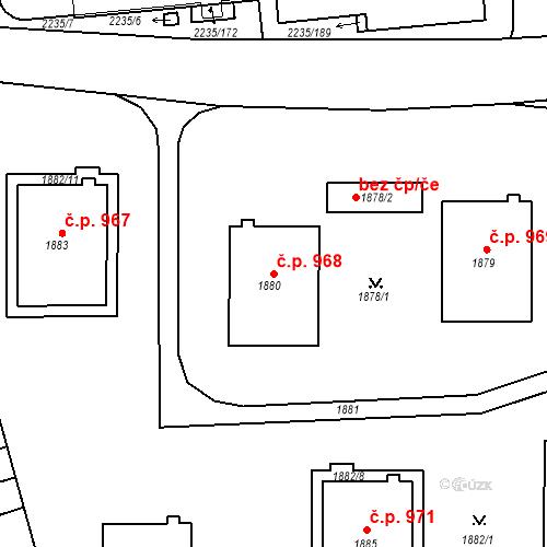 Katastrální mapa Stavební objekt Poštorná 968, Břeclav