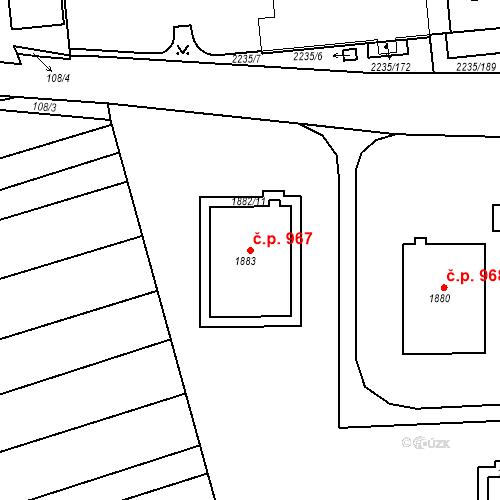 Katastrální mapa Stavební objekt Poštorná 967, Břeclav