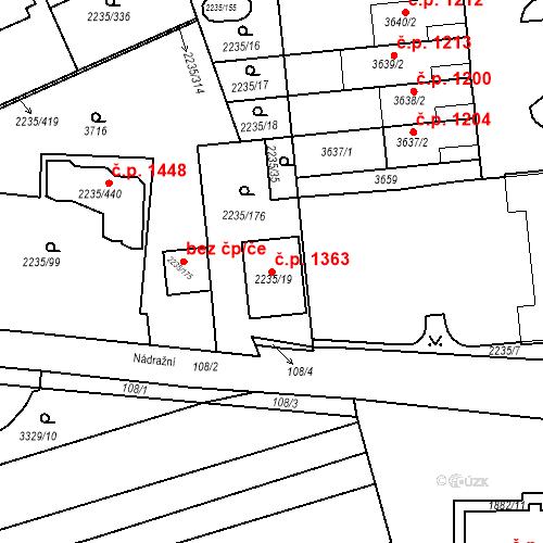 Katastrální mapa Stavební objekt Poštorná 1363, Břeclav