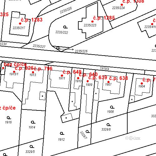 Katastrální mapa Stavební objekt Poštorná 640, Břeclav