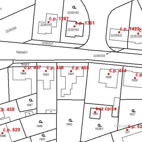 Katastrální mapa Stavební objekt Poštorná 455, Břeclav