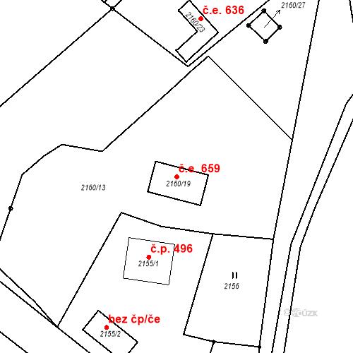 Katastrální mapa Stavební objekt Ochoz u Brna 659, Ochoz u Brna