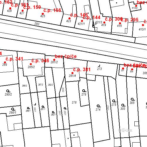 Katastrální mapa Stavební objekt Tvarožná 381, Tvarožná