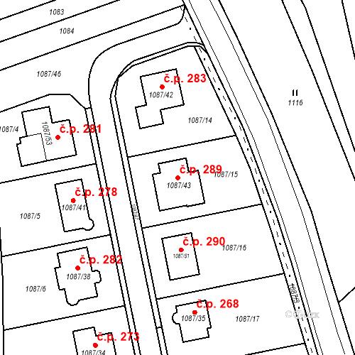Katastrální mapa Stavební objekt Sloup 289, Sloup