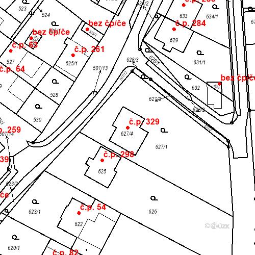 Katastrální mapa Stavební objekt Prace 329, Prace