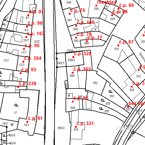 Katastrální mapa Stavební objekt Prace 352, Prace