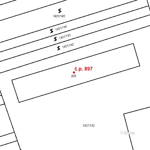 Katastrální mapa Stavební objekt Rakvice 897, Rakvice