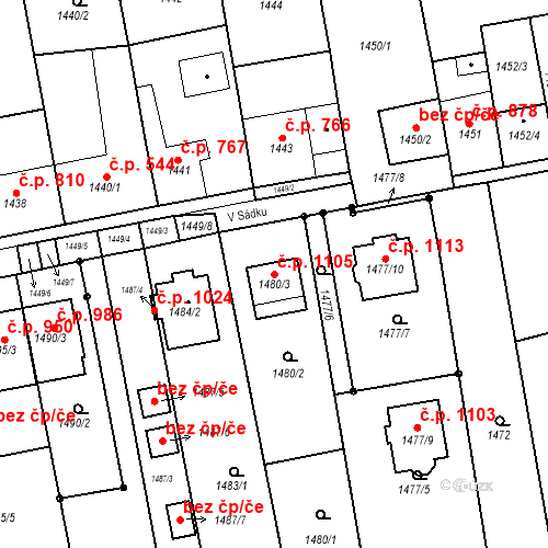 Katastrální mapa Stavební objekt Újezd u Brna 1105, Újezd u Brna