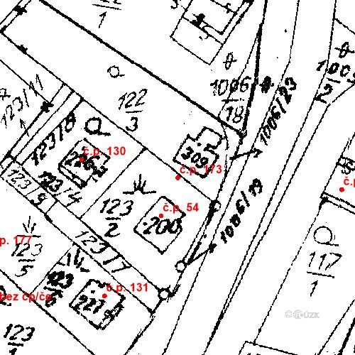Katastrální mapa Stavební objekt Sázava 173, Sázava