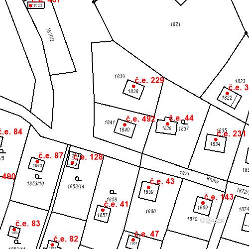 Katastrální mapa Stavební objekt Velké Opatovice 492, Velké Opatovice