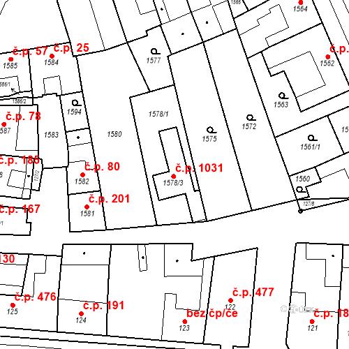 Katastrální mapa Stavební objekt Újezd u Brna 1031, Újezd u Brna