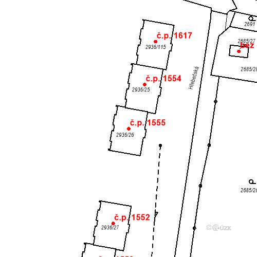 Katastrální mapa Stavební objekt Předměstí 1555, Moravská Třebová