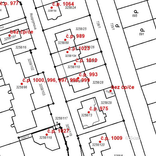 Katastrální mapa Stavební objekt Újezd u Brna 993, Újezd u Brna