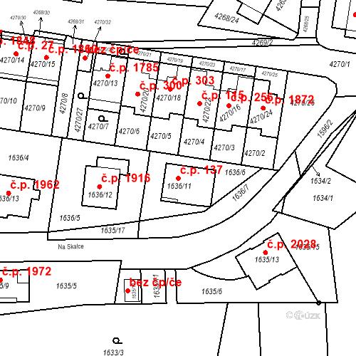 Katastrální mapa Stavební objekt Boskovice 137, Boskovice
