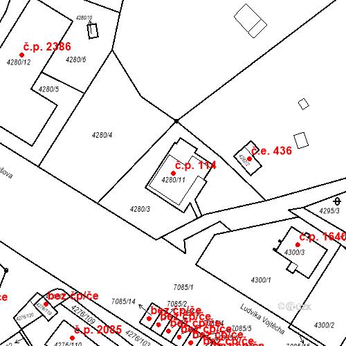 Katastrální mapa Stavební objekt Boskovice 114, Boskovice