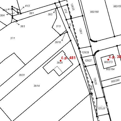 Katastrální mapa Stavební objekt Babice nad Svitavou 481, Babice nad Svitavou