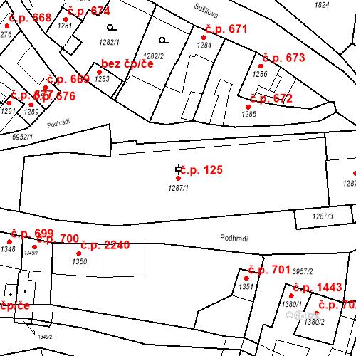 Katastrální mapa Stavební objekt Boskovice 125, Boskovice
