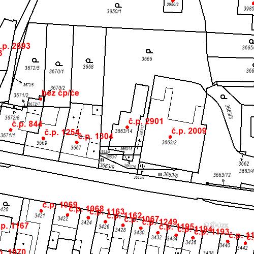 Katastrální mapa Stavební objekt Líšeň 2901, Brno