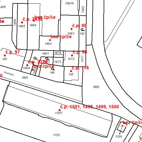Katastrální mapa Stavební objekt Boskovice 116, Boskovice