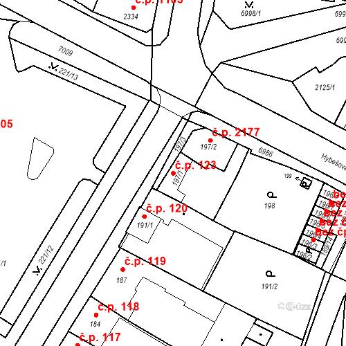Katastrální mapa Stavební objekt Boskovice 123, Boskovice