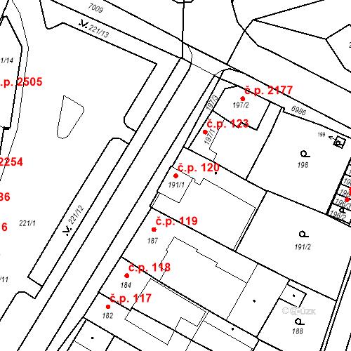Katastrální mapa Stavební objekt Boskovice 120, Boskovice