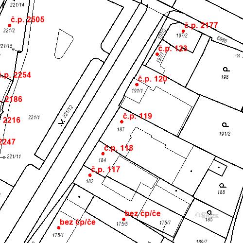 Katastrální mapa Stavební objekt Boskovice 119, Boskovice