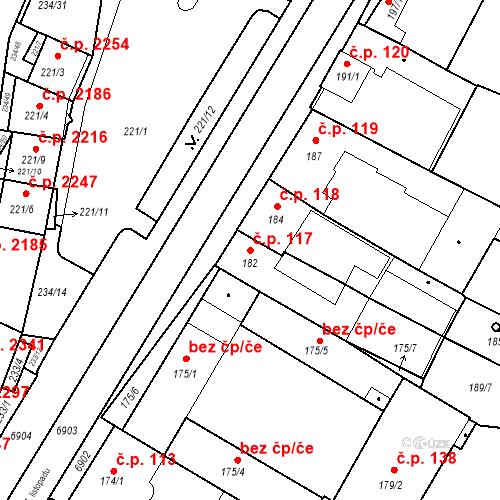 Katastrální mapa Stavební objekt Boskovice 117, Boskovice