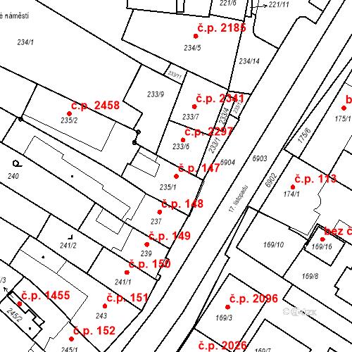 Katastrální mapa Stavební objekt Boskovice 147, Boskovice