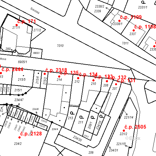 Katastrální mapa Stavební objekt Boskovice 134, Boskovice